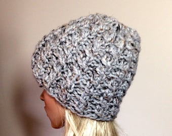 Slouchy Knit Hat - Women's Hat - Chunky Hat - Cable Hat - Gray Hat