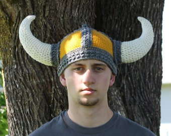 Viking Helmet ~ Gold Base/Grey Trim