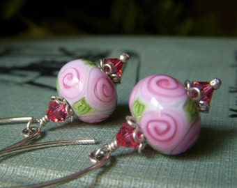 Pink Lampwork Earrings, Sterling Silver, Pink Flower Earrings, Gift for Women, Floral Artisan Glass SRA Lampwork Dangle Rosebud