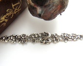 SILVER (2 Pieces) Renaissance Flower Bar FLORAL Stamping ~ Jewelry Antique Silver Findings (FA-6066) #