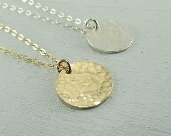 Gold Disc Necklace, Silver Disc Charm Necklace, Hammered Disc Pendant, Circle Tag Necklace, Gift Idea, Handmade Jewelry Necklace