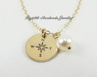Compass Necklace, Gold Compass Necklace, Compass Rose Necklace, Graduation Gift, Bridesmaids Necklace, Silver Compass Necklace, Gift Idea