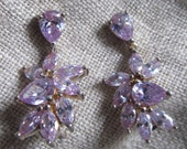 Vintage 925 Elegant Amethyst Earrings, Pierced