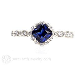 Asscher Blue Sapphire Engagement Ring Sapphire Ring Diamond Halo 14K Gold or Palladium Custom Wedding Ring