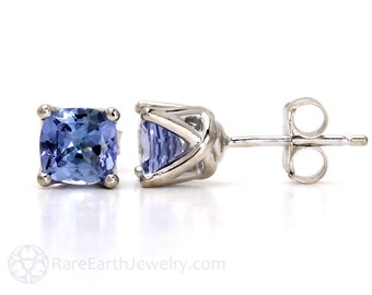 Cushion Tanzanite Earrings 14K Tanzanite Stud Earrings Post Earrings December Birthstone