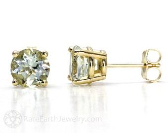 14K Green Amethyst Earrings Green Amethyst Stud Earrings Post Earrings Gemstone Earrings