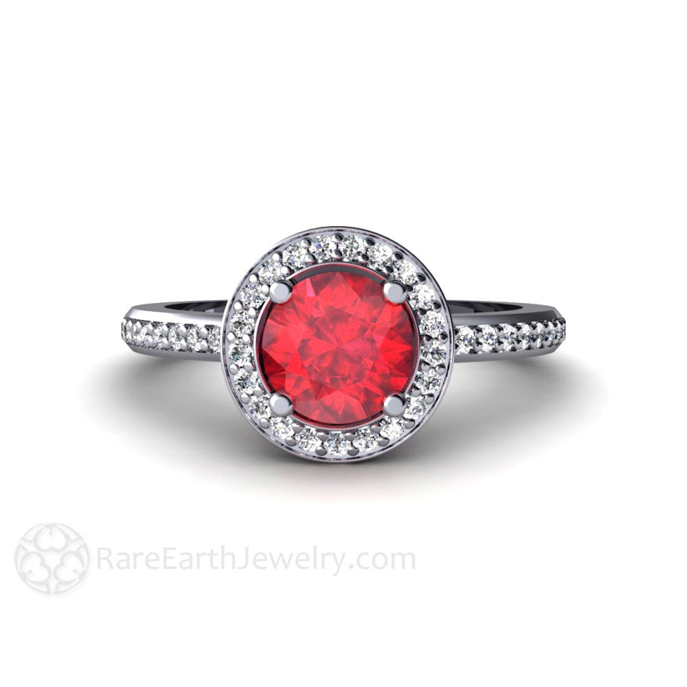ruby engagement ring halo ruby ring custom wedding