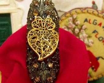 Portugal Viana Heart rhinestones ring gothic folk