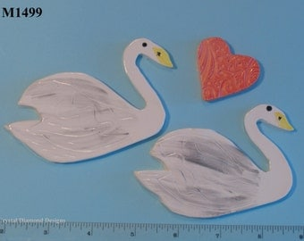 Swans and a Heart - Kiln Fired Handmade Ceramic Mosaic Tiles M1499