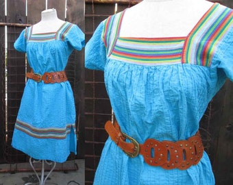 Vintage Mexican Dress 70s Turquoise Tucked cotton Boho handwoven stripe caftan  M