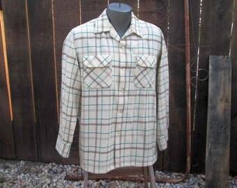 Vintage Big E 1950s Vintage Wool Plaid Shirt Levis 50s vintage wool Shirt Cream Gray wool Plaid Styled by Levis tag M L