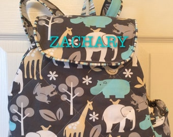 TODDLER Boys ZOO Jungle Safari Animals Backpack. CUSTOM Handmade Applique'd with your choice of FAbRIC, Design and Trim
