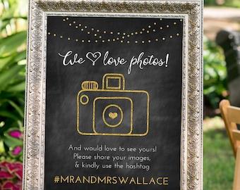 PRINTABLE - Wedding Hashtag sign, Black and Gold Decor, Art Deco Wedding Decor, hashtag wedding, Large Custom Wedding Sign, Silver Decor