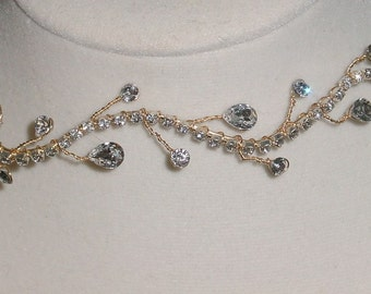 Wedding Headband Crystal Rhinestone and Gold Wire  Made to Order Available in Gold or Silver