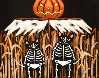 The Scarecrow Original Halloween Cat Folk Art Painting
