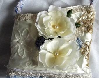 Sweet Bride Purse Embellished Cream Pearl Blue Flowers Beach Wedding French Market Chic