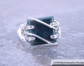 Sterling Silver Heliotrope Bloodstone Wire Ring
