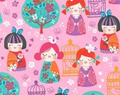 Cherry Blossom Garden fabric by Robert Kaufman Fabrics- Cherry Blossom Dolls in Garden (pink)- You Choose Your Cut. Free Shipping Available