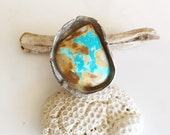 Caribbean Blue big blue stone eco silver big ring with Caribbean blue and emerald green beautiful Royston turquoise size 7. 25