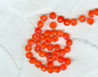 40 Vintage Czechoslovakian Red Orange Hollow Back  Nailhead Nail Head  Glass Beads
