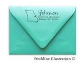 Return Address Stamp, Self-Inking Address Stamp, Custom Stamp, State Stamp, Style #12