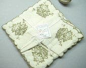 Vintage Madeira, Madeira napkins, flower napkins, set of 6 napkins, embroidered napkins, linen napkins, hand made, made in Madeira