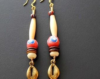 African Earrings, Tribal Earrings, Cowry Shell Earrings, African Beads, African Jewelry, For Her, Bahari African Brass Cowry Earrings