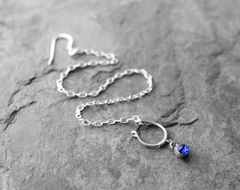 Nose Chain, Nose Jewelry, Silver Septum Nose Chain, Nose Ring, Septum Nose Chain, Tribal Nose Ring, Blue Berry Silver Septum Nose Chain