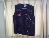 Large embroidered navy blue wool Woolrich vest farm scenes pockets