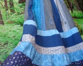 Hippie Maxi Skirt Floral Long Patchwork Pastel Retro VINTAGE Cotton OOAK Phish Summer Tour Blue Brown Retro Dress Designer elyse oRiGiNaLs