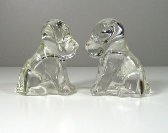 Vintage Federal Glass Mopey Dog Candy Containers 1940's