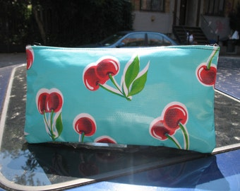 "Turquoise Cherry Oil Cloth Cosmetic Case, Vinyl Cherry 10"" Pencil Case, Mexican Oil Cloth Pouch"