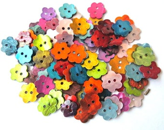63 Shell buttons flower shape in 9 colors 10mm-11mm