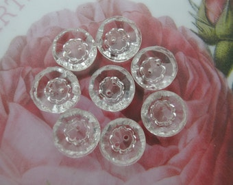 6 Glass buttons, vintage antique glass buttons flower design 12mm