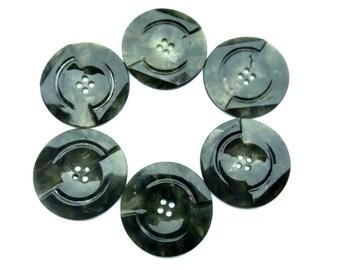 6 buttons, antique vintage plastic buttons art DECO, green, 34mm