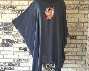 Plus Size Lightweight Embroidered Tunic with Steampunk Phoenix