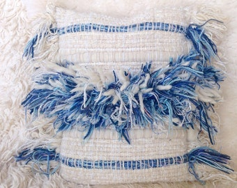 Bohemian vintage wool woven blue and off white fiber art wall hanging pillow cushion boho modern minimalist home decor neutrals rustic peru