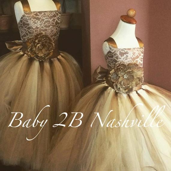 Flower Girl Dress Wedding Dress Cocoa Lace Dress Champagne Dress Gold Dress Tulle Dress Tutu Dress Baby Dress Toddler Dress Girls Dress