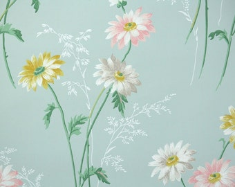 1940's Vintage Wallpaper - Pink Yellow and White Daisies on Blue