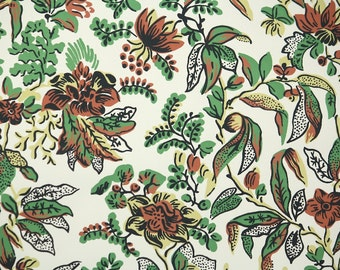1950s Vintage Wallpaper by the Yard - Floral Wallpaper with Green and Brown Flowers and Leaves on White
