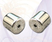2 (4 pcs) Magnetic Tube Clasps, Extra Strong, Shiny Silver Tone, about 6mm x 12mm complete
