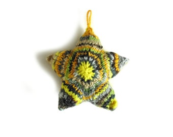 Yellow Gray Wool Christmas Star Mobile Small Pillow, One of a Kind, Stuffed Twinkle Star, Christmas Ornament Decoration, Gifts Under 15