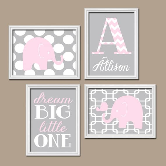 Girl Elephant Nursery Wall Art Pink Gray Nursery Baby By