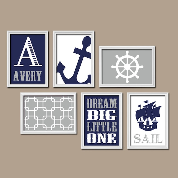 BOY Nautical Wall Art CANVAS Or Prints Boy Nautical Nursery Baby Boy