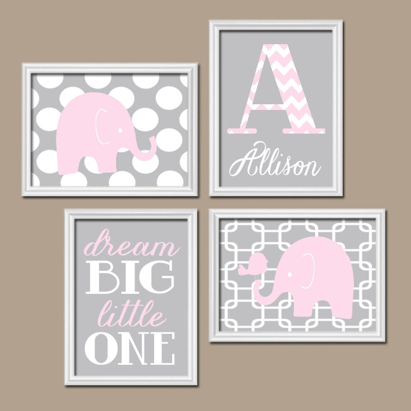 Girl elephant nursery wall art pink gray nursery baby by for Nursery wall art
