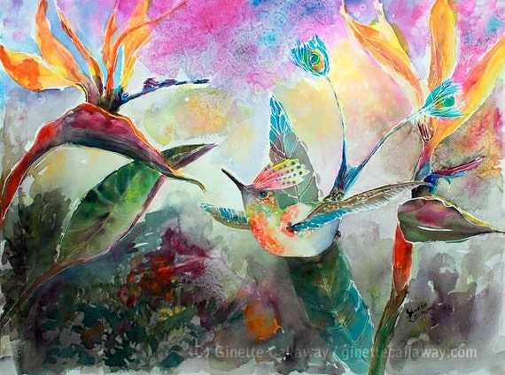 Fantasy Humming Bird and Birds of Paradise Flowers Watercolor Painting