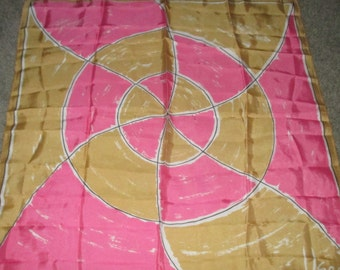 Vintage MOD 60s VERA Tan and Pink Circle Motif Silk Scarf