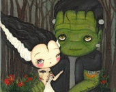 Frankenstein Print Tattooed Bride Of Frankenstein Art Cute Tattooed Couple 11 x 14 Large Print