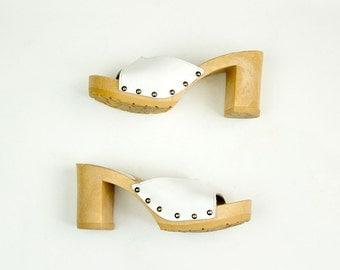 80s Vintage Mila Paoli White Leather Mule Sandal Pumps / Size US 6 / EU 37