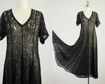 20% Off With Coupon Code! 90s Vintage Black Sheer Lace Gypsy Full Skirt Paneled Maxi Dress / Size Medium